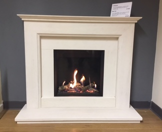 "Riva 500HL balanced flue gas fire  - Prices from £2,365 inc VAT - Fireplace 48"" Chamberlayne in limestone Prices from £1090 inc VAT"