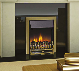 D45 Electric Fire - Available in Antique brass effect finish, brass effect finish with black detail or chrome effect finish with black detail