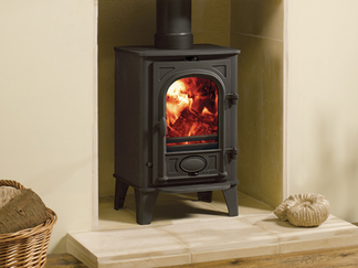 Stockton 4 - multi-fuel (with external riddling) cleanburn airwash flat top maximum heat output - 4kW no room vent required boiler option top or rear flue outlets choice of colour finishes stove size 572mm h x 389mm w x 338mm d - Prices from £799