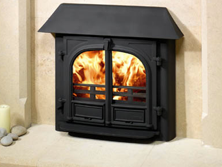 Stockton 8 Inset Convector Multi-fuel Fire - Up to 8kW heat output cleanburn system airwash system Convection system External riddling  flat top and low canopy versions Choice of colour finishes Top flue outlet fits opening 550mm w x 550mm h x 350mm d - Prices from £1,389 inc