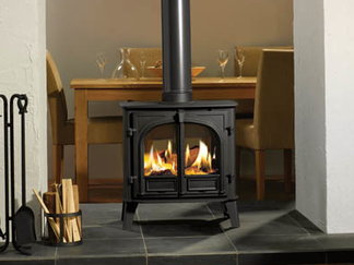 Stockton Double-Sided - Burns wood and Multi-fuel airwash two sizes available maximum heat output 9-11kW choice of 4 colours - Prices from £1,749 inc