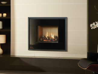 The Riva2 500 Icon gas fire has been created to make a bold style statement with its sleek, black reflective surfaces and a chic geometric design. At home in both modern and more traditionally styled interiors, the Riva2 500 Icon adds a touch of grandeur to the compact proportions of the Riva2 500 range.  You can tailor your fire by selecting from one of our three lining choices, each offering a different setting to display the beautiful flames and the warming ambience conjured by the hand detailed logs.  Finish: Black glass only.  Linings: Vermiculite, Brick effect and Black reeded.  Fuel Bed: Logs.  Command Control: Thermostatic remote