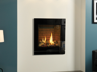 The Riva2 530 & 670 Designio2 Glass gas fires have smart, reflective black surfaces with subtle detailing and clean lines. Both premium gas fires complement a wide array of contemporary interiors with their simple, chic design and sophisticated front.  Combined with your choice of the three linings available in brick effect, vermiculite or black reeded, and teamed with your choice of fireplace surround tiles or colour scheme, this gas fire make a glamorous addition to your home.  The sleek finish of this gas fire naturally forms an elegant frame for the beautiful flames, highly realistic logs and lifelike ember effects for a fireplace with the wow-factor.  Finish: Black Glass.  Linings: Vermiculite, Brick effect and Black Reeded.  Fuel be