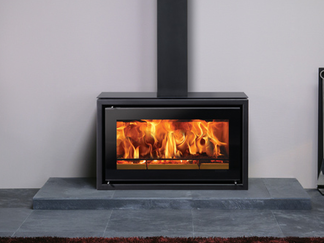 Riva Studio 1 freestanding woodburner cassette, 5kw output, Height 745mm, Width 415mm, Depth 350mm, Max Log Length 300mm  Prices from £2,474 inc