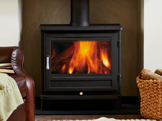 Salisbury 12 Woodburner - 12.0 kw. With its simple good looks, the Salisbury stove will sit comfortably in a wide range of interiors. It can also be very successfully combined with an attractive stone fire surround as in the facing image. Prices from £1,920 inc