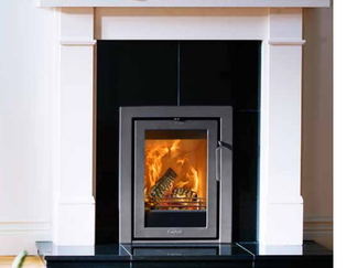 Contura i4 - modern 3 side frame output 3-5 kw nominal output, 4kw multi-fuel 80% efficiency 250mm log length fits into opening 400mm w x 560 mm h x 350mm d out side frame size 490mm x 590mm black or grey - Prices from £1,295 inc
