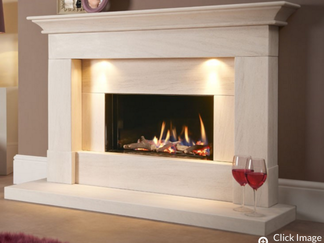 The Parada Illumia gas fire suite features a striking landscape gas fire with beautiful dancing flames enhanced by a reflective black enamel interior lining. Prices from £2,399 inc