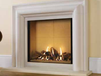 Riva2 800 gas fire - Balanced flue only - Prices from £2,849 inc shown with Stone Mantel - Victorian Corbel Colours available in antique white marble or limestone £1,335 inc